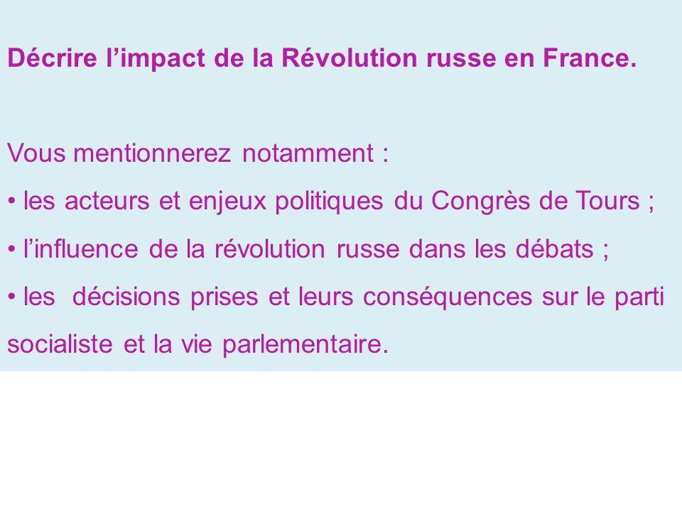 Décrire l'impact de la Révolution russe en France.