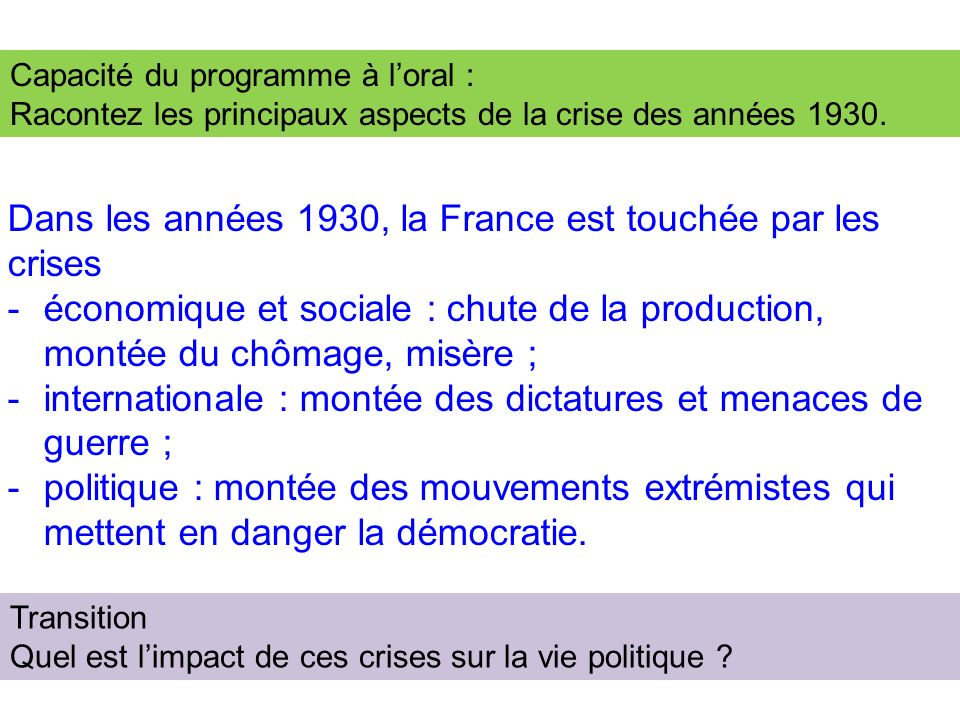 Dans les années 1930, la France est touchée par les crises