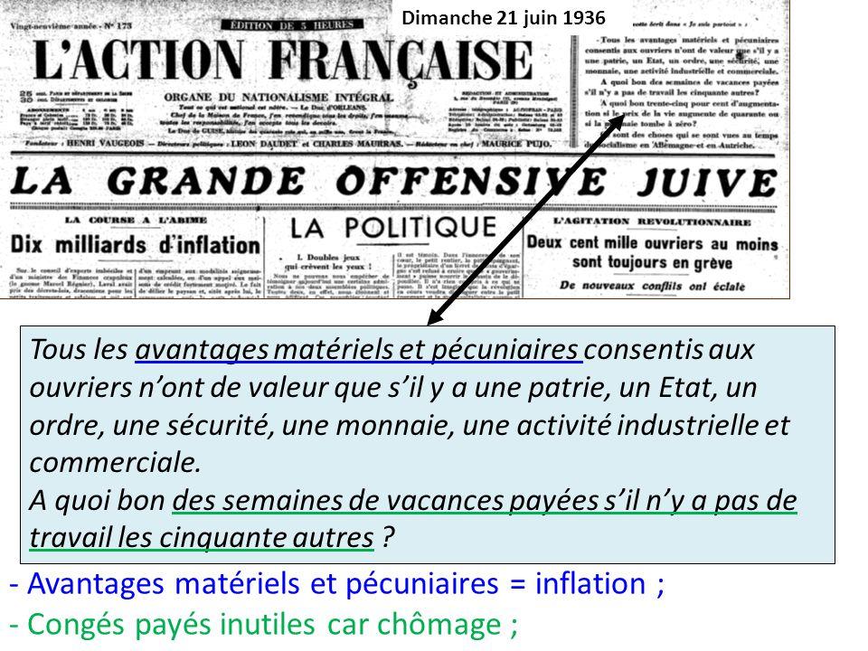 - Avantages matériels et pécuniaires = inflation ;