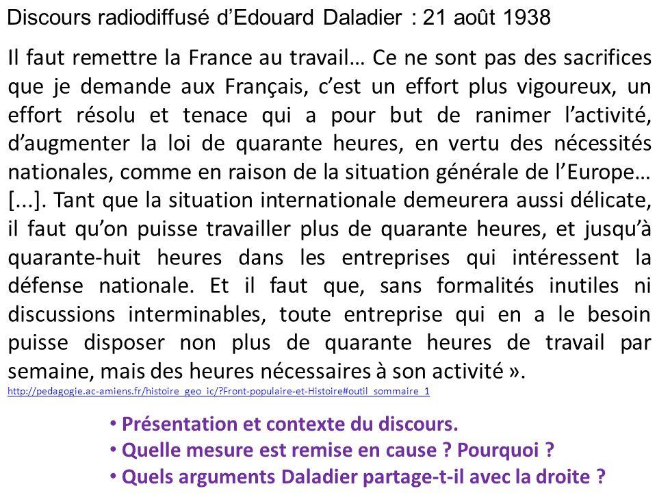 Discours radiodiffusé d'Edouard Daladier : 21 août 1938