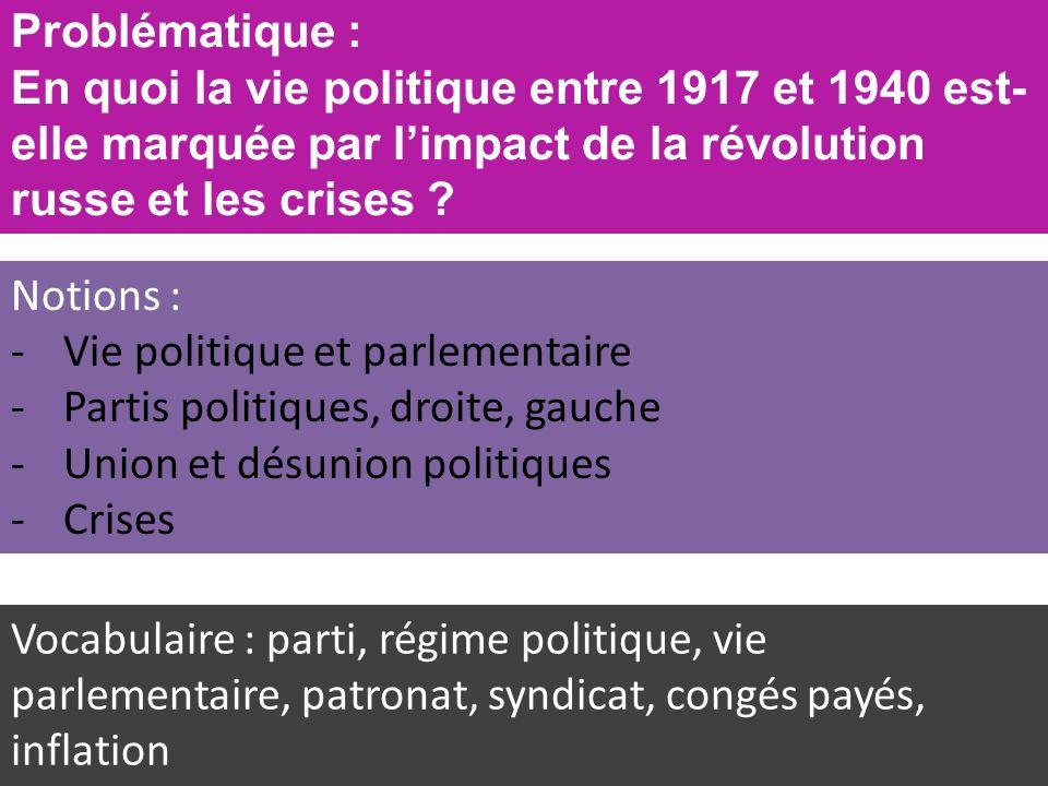 Problématique : En quoi la vie politique entre 1917 et 1940 est-elle marquée par l'impact de la révolution russe et les crises