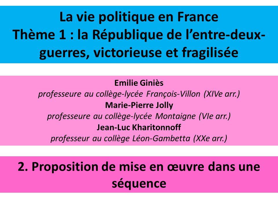 La vie politique en France Thème 1 : la République de l'entre-deux-guerres, victorieuse et fragilisée