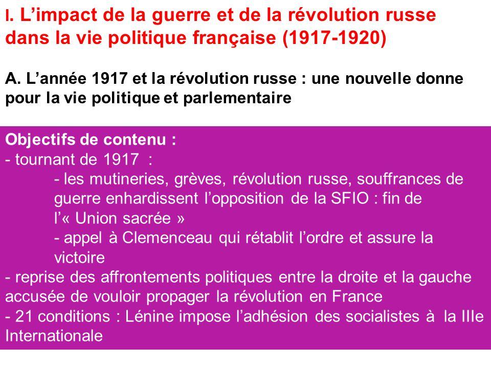 I. L'impact de la guerre et de la révolution russe dans la vie politique française (1917-1920)