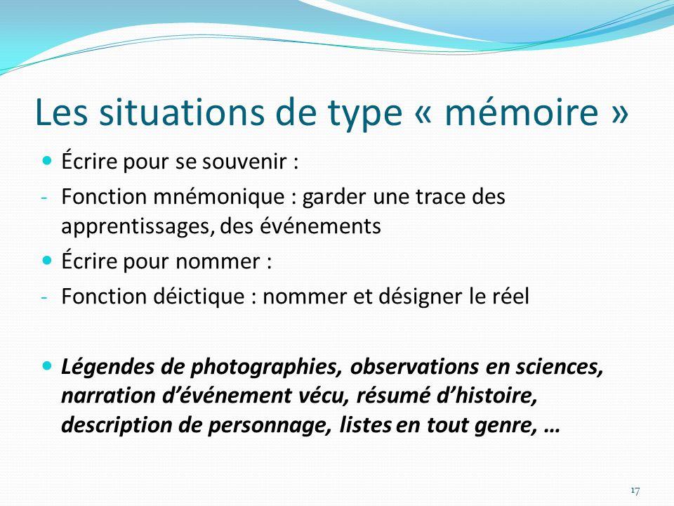 Les situations de type « mémoire »