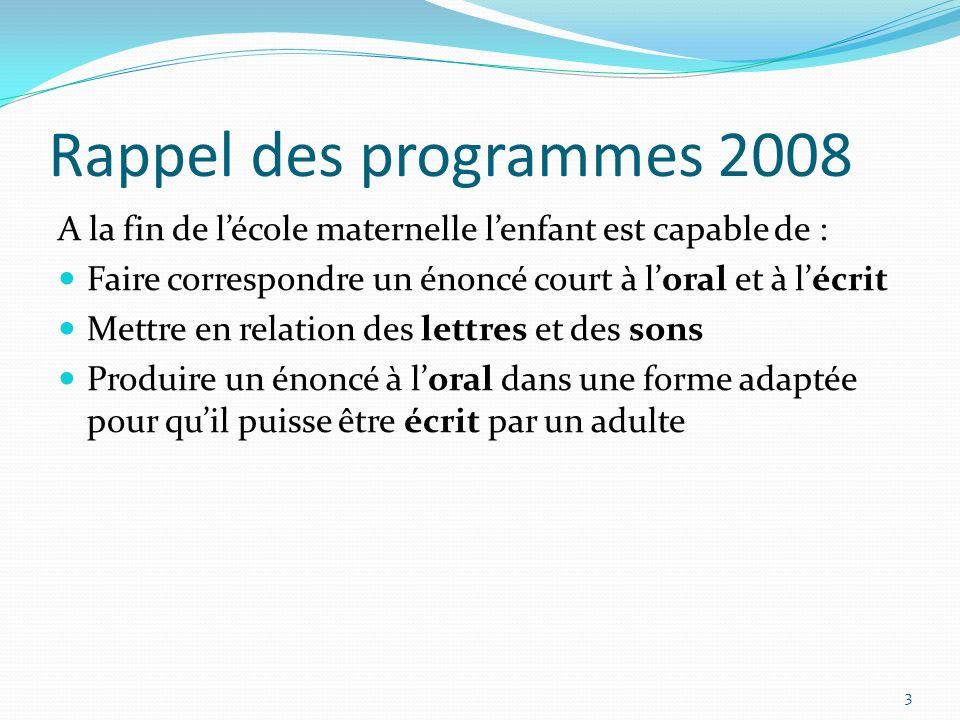 Rappel des programmes 2008 A la fin de l'école maternelle l'enfant est capable de : Faire correspondre un énoncé court à l'oral et à l'écrit.
