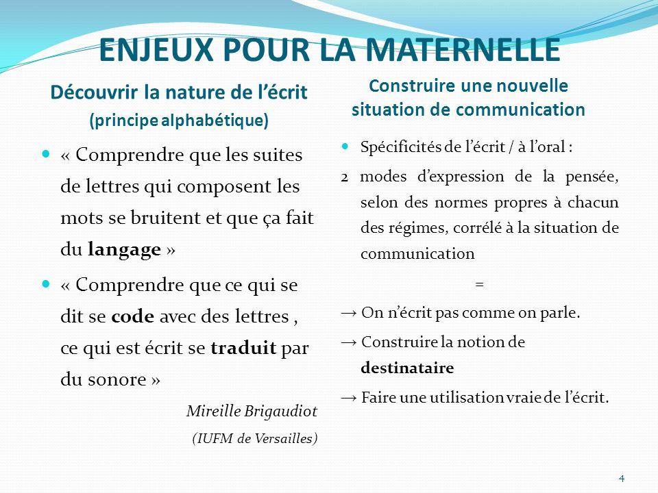 ENJEUX POUR LA MATERNELLE