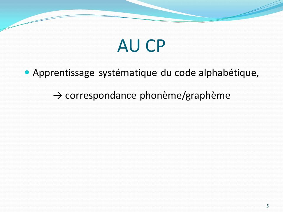 AU CP Apprentissage systématique du code alphabétique,