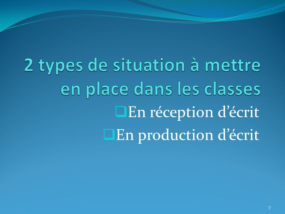 2 types de situation à mettre en place dans les classes