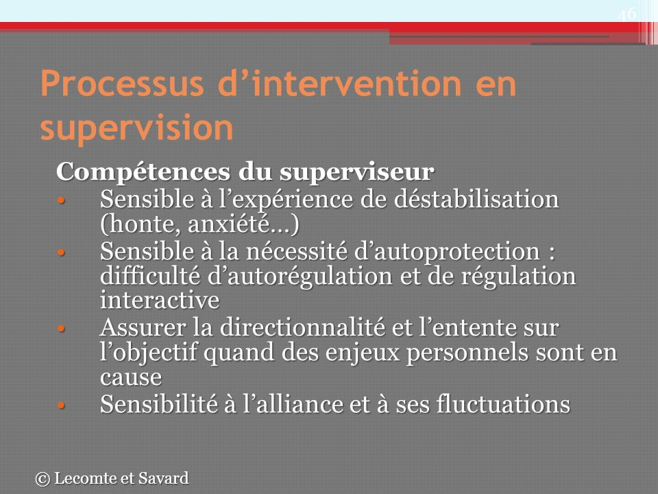 Processus d'intervention en supervision