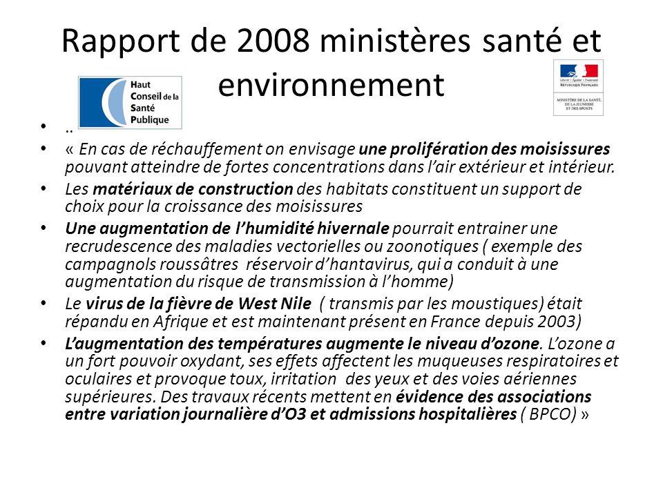 Rapport de 2008 ministères santé et environnement