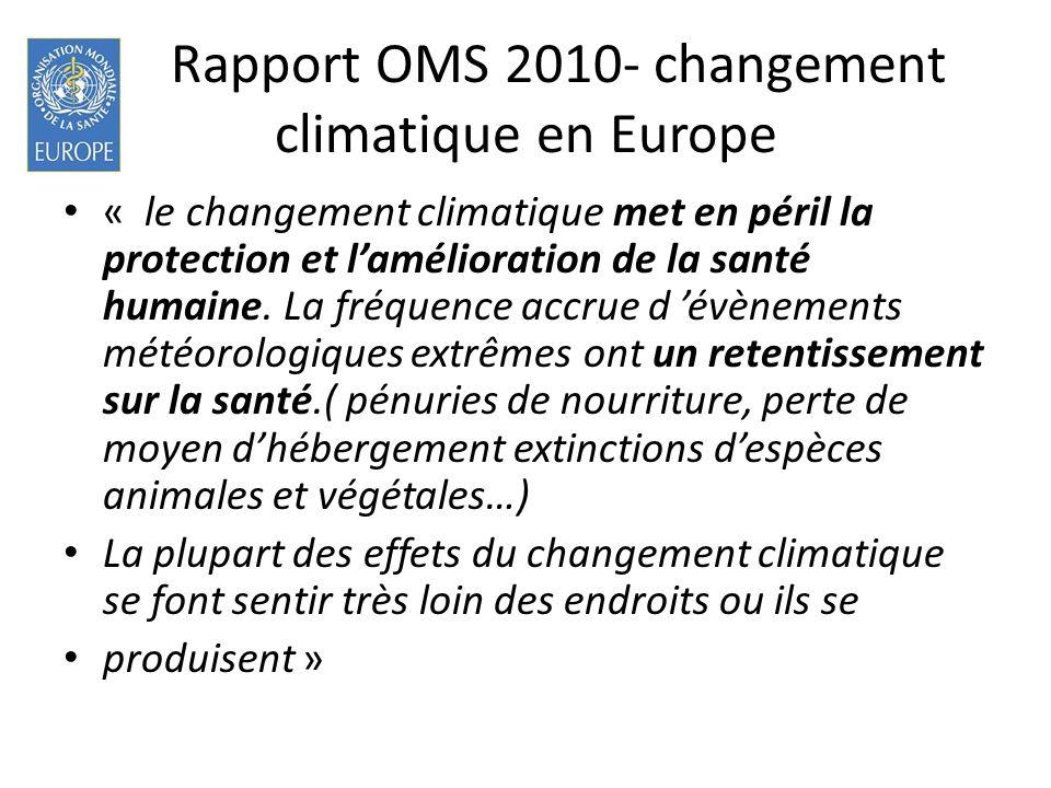 Rapport OMS 2010- changement climatique en Europe