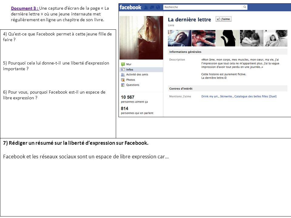 7) Rédiger un résumé sur la liberté d'expression sur Facebook.