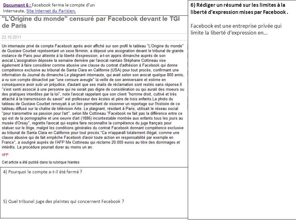 Document 6 : Facebook ferme le compte d'un internaute