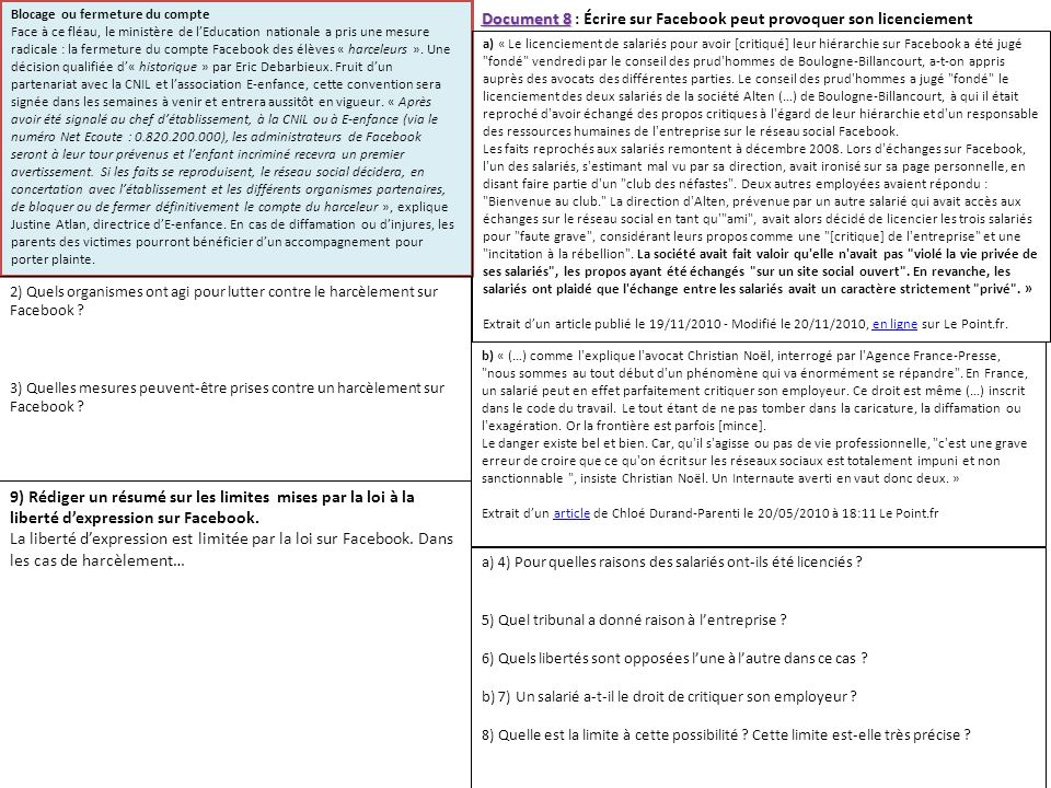 Document 8 : Écrire sur Facebook peut provoquer son licenciement