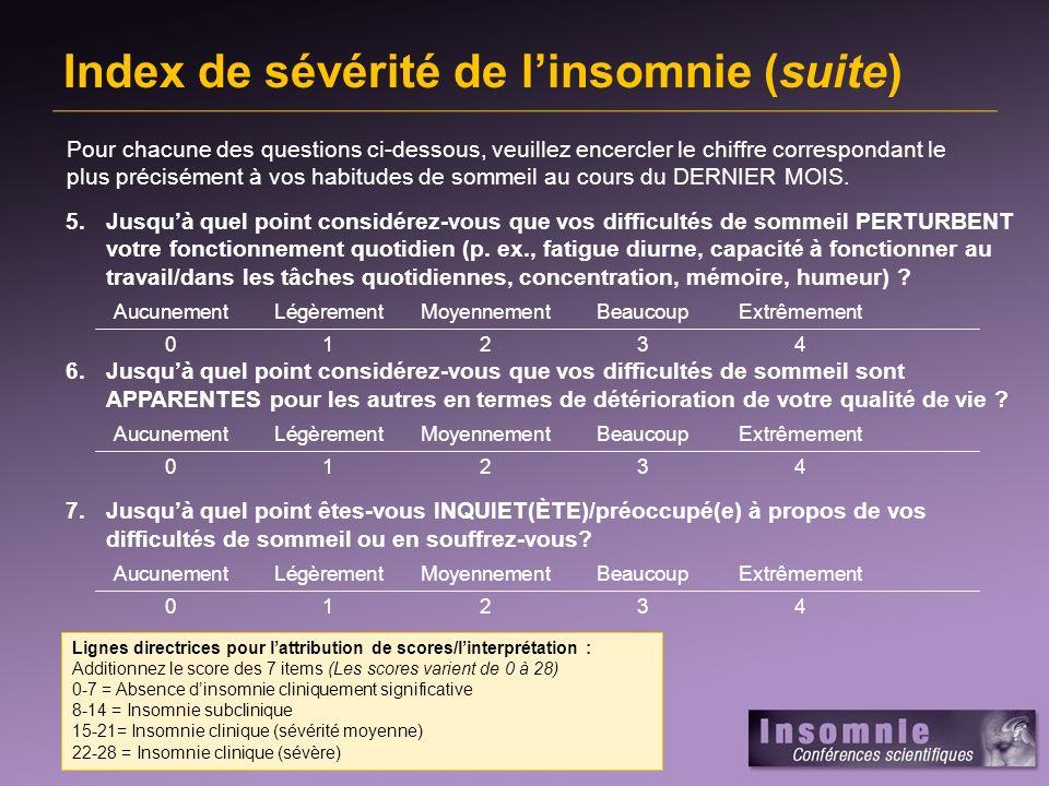 Index de sévérité de l'insomnie (suite)