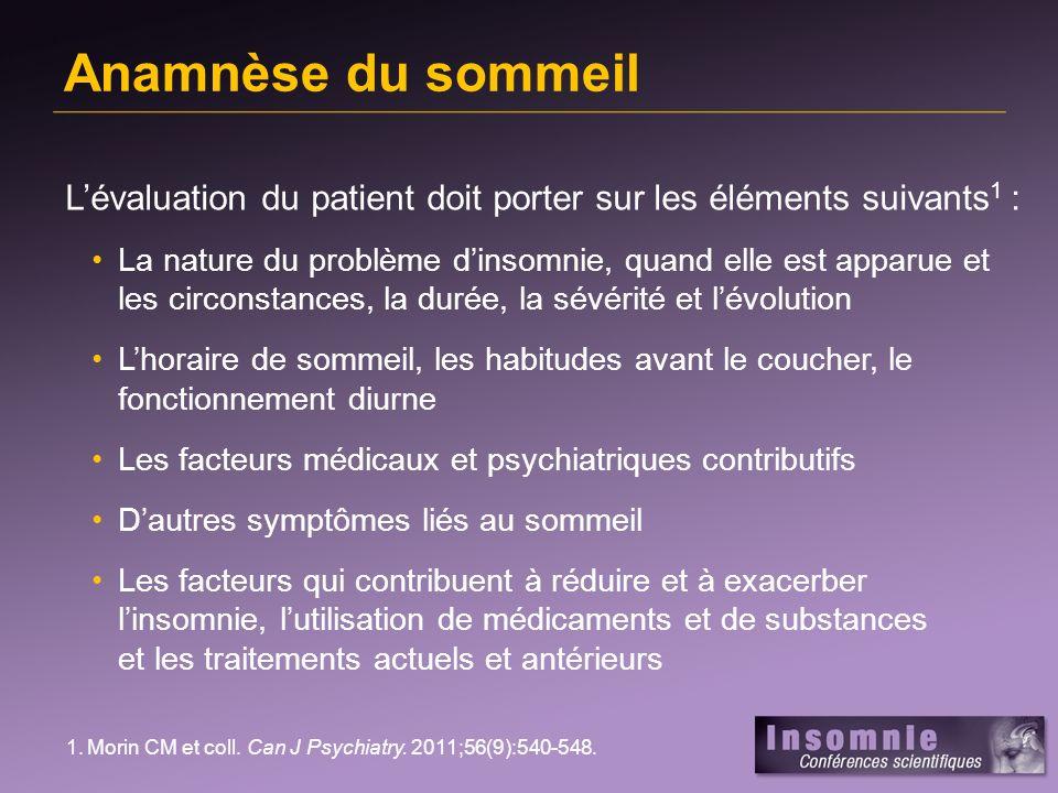Anamnèse du sommeilL'évaluation du patient doit porter sur les éléments suivants1 :
