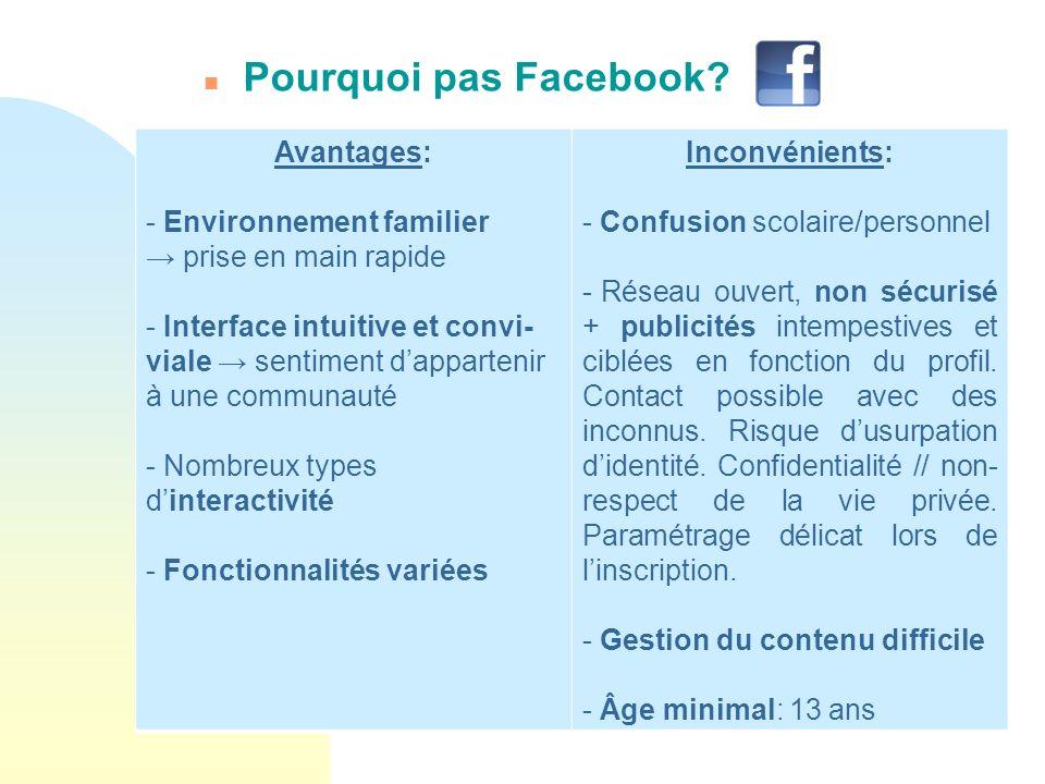 Pourquoi pas Facebook Avantages: Environnement familier