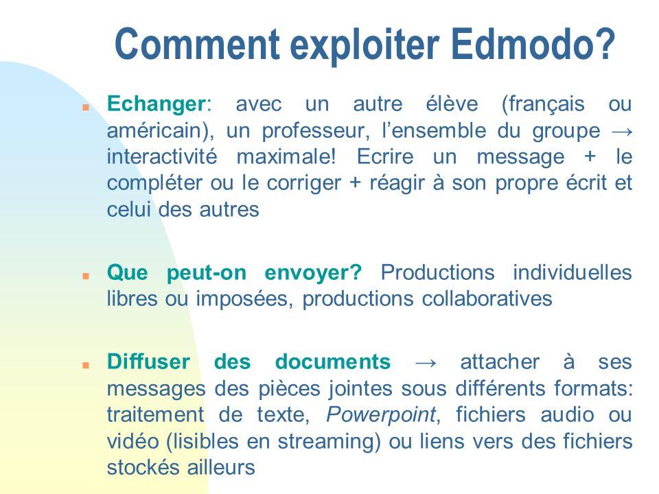 Comment exploiter Edmodo
