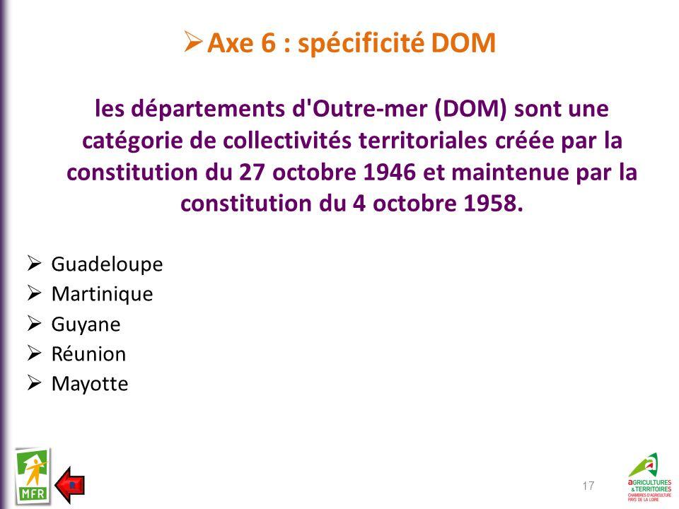Axe 6 : spécificité DOM les départements d Outre-mer (DOM) sont une catégorie de collectivités territoriales créée par la constitution du 27 octobre 1946 et maintenue par la constitution du 4 octobre 1958.