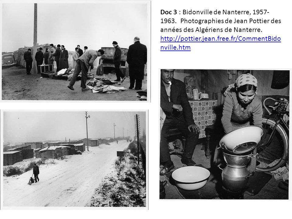 Doc 3 : Bidonville de Nanterre, 1957-1963