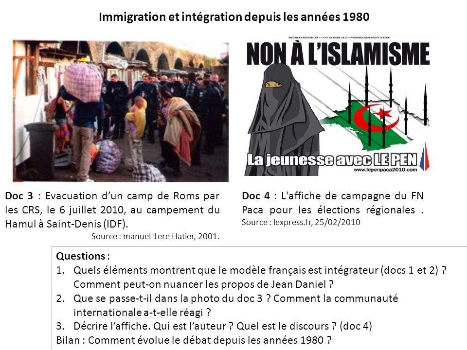 Immigration et intégration depuis les années 1980