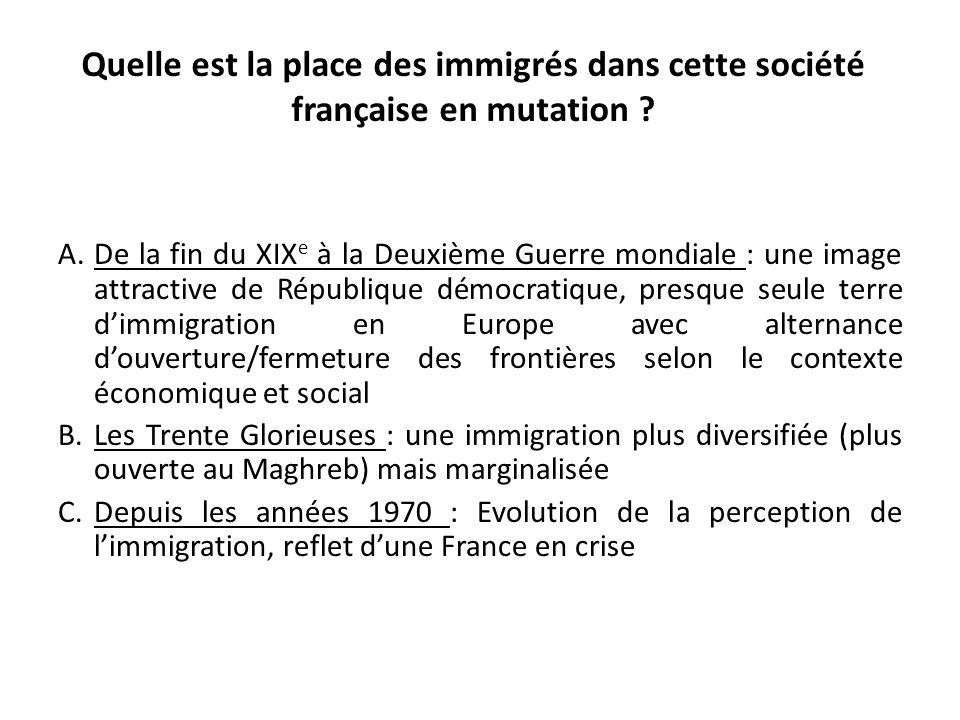 Quelle est la place des immigrés dans cette société française en mutation