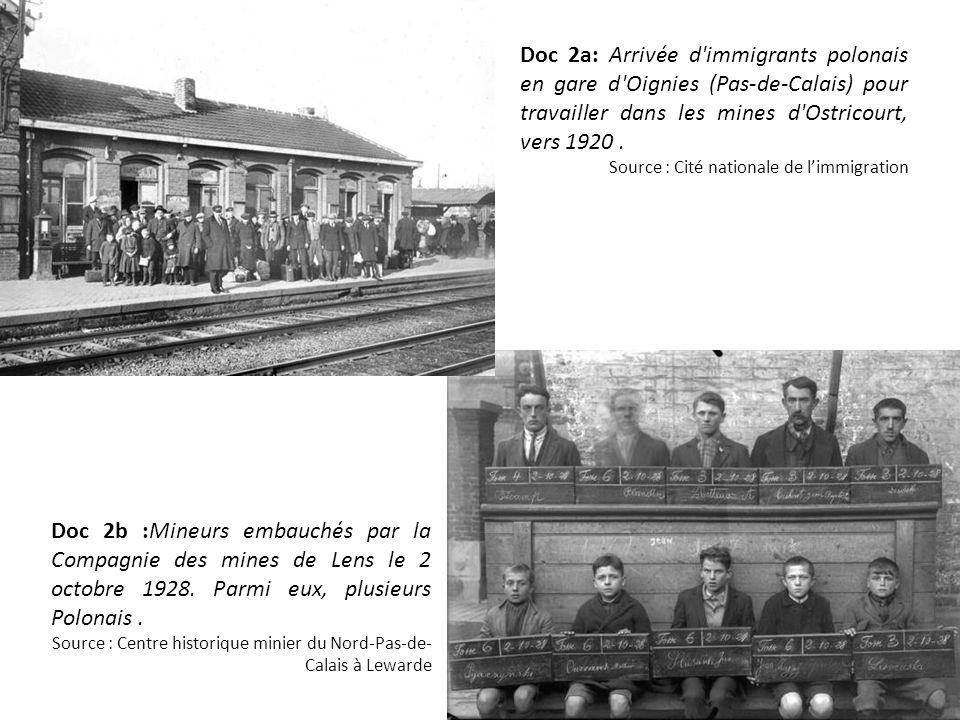Doc 2a: Arrivée d immigrants polonais en gare d Oignies (Pas-de-Calais) pour travailler dans les mines d Ostricourt, vers 1920 .