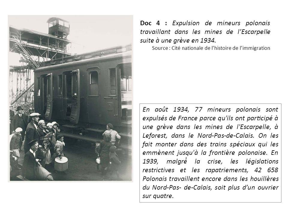 Doc 4 : Expulsion de mineurs polonais travaillant dans les mines de l'Escarpelle suite à une grève en 1934.