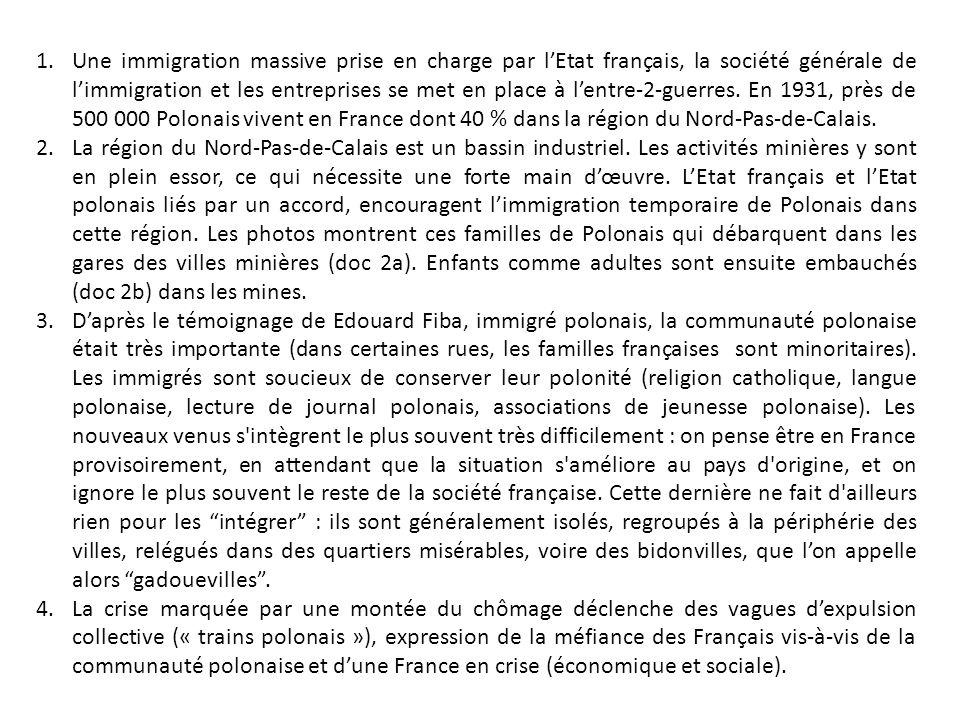 Une immigration massive prise en charge par l'Etat français, la société générale de l'immigration et les entreprises se met en place à l'entre-2-guerres. En 1931, près de 500 000 Polonais vivent en France dont 40 % dans la région du Nord-Pas-de-Calais.