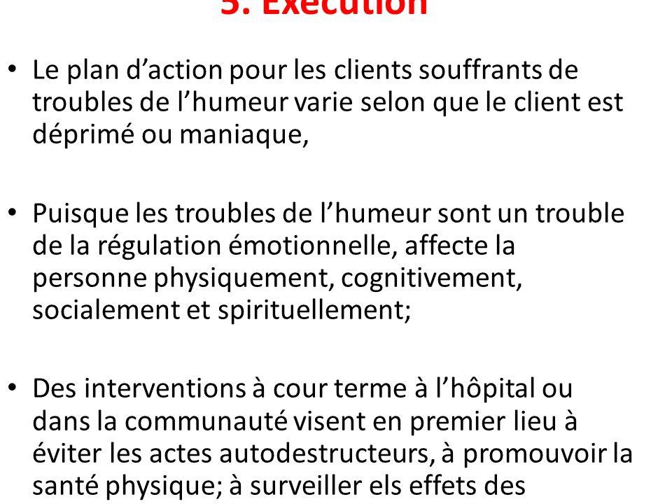 5. Exécution Le plan d'action pour les clients souffrants de troubles de l'humeur varie selon que le client est déprimé ou maniaque,