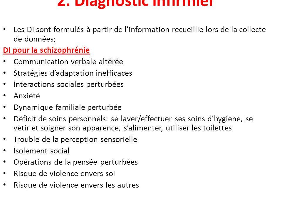2. Diagnostic infirmier Les DI sont formulés à partir de l'information recueillie lors de la collecte de données;