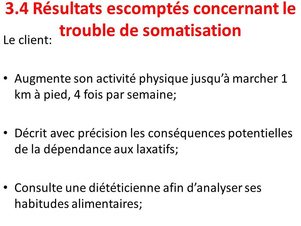 3.4 Résultats escomptés concernant le trouble de somatisation