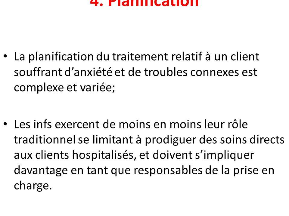 4. Planification La planification du traitement relatif à un client souffrant d'anxiété et de troubles connexes est complexe et variée;