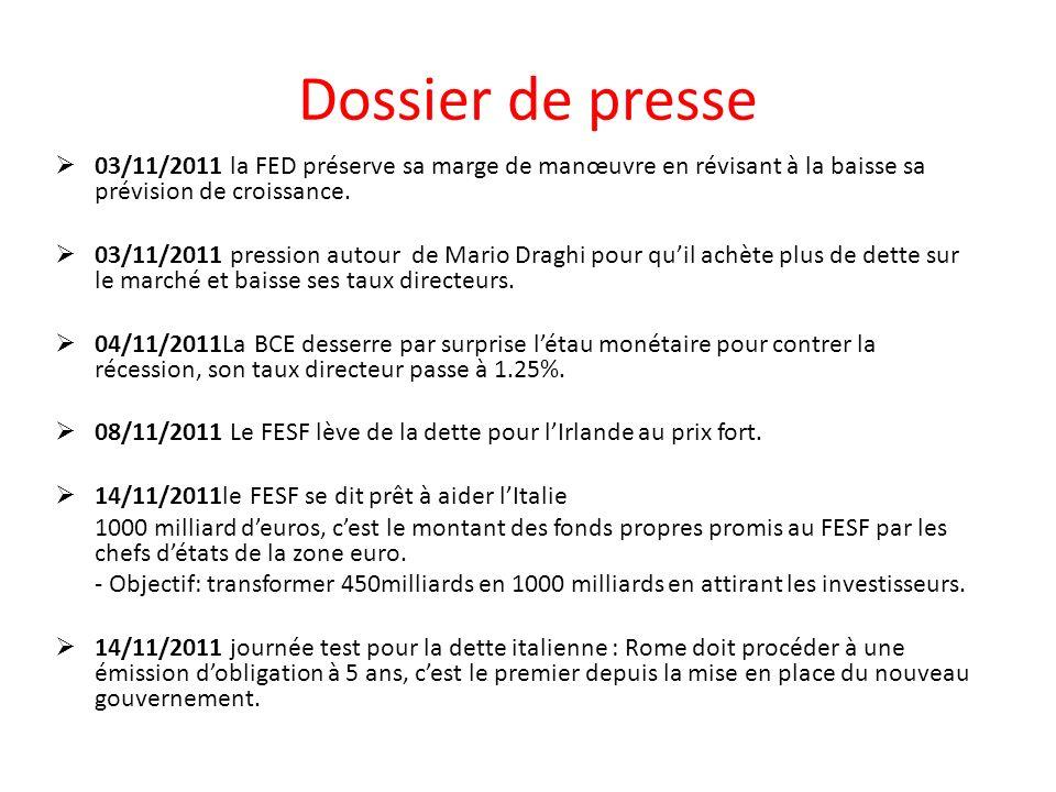Dossier de presse 03/11/2011 la FED préserve sa marge de manœuvre en révisant à la baisse sa prévision de croissance.