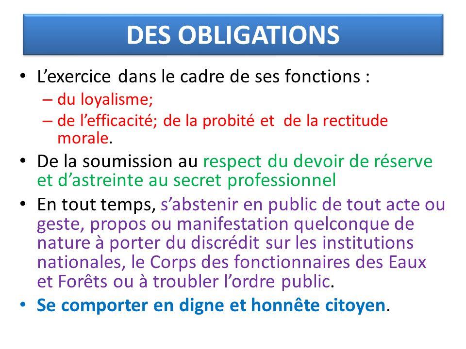 DES OBLIGATIONS L'exercice dans le cadre de ses fonctions :