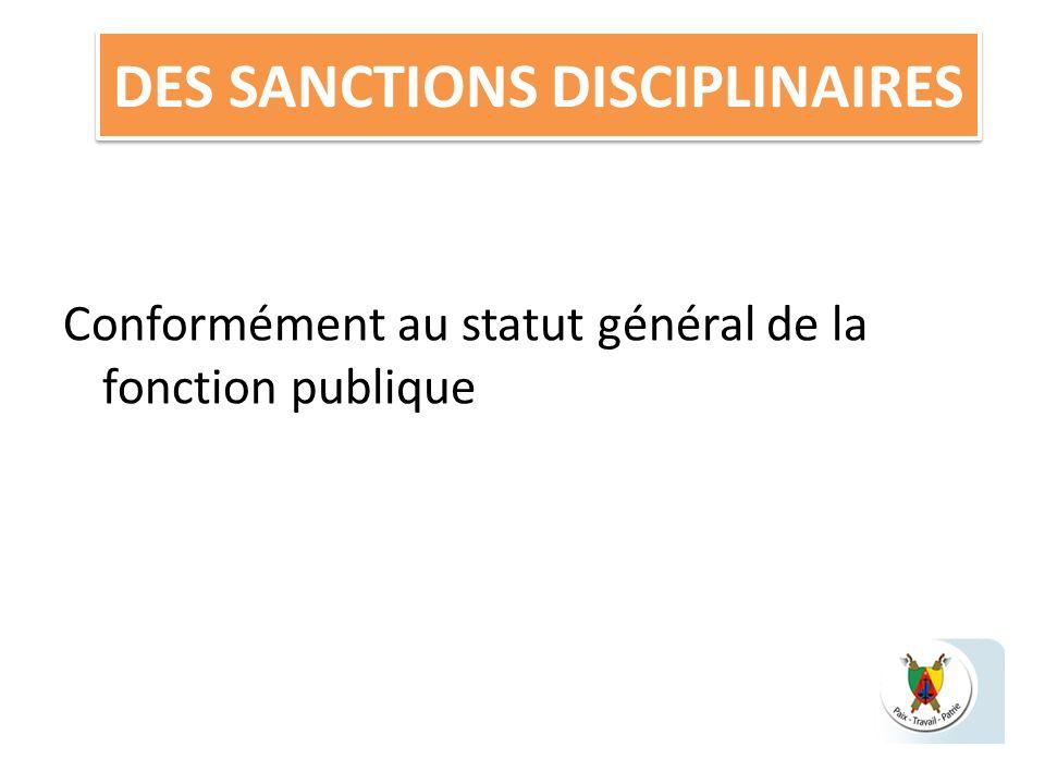 DES SANCTIONS DISCIPLINAIRES