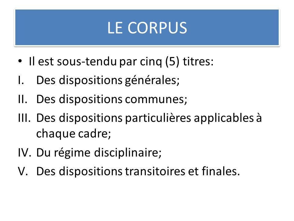 LE CORPUS Il est sous-tendu par cinq (5) titres: