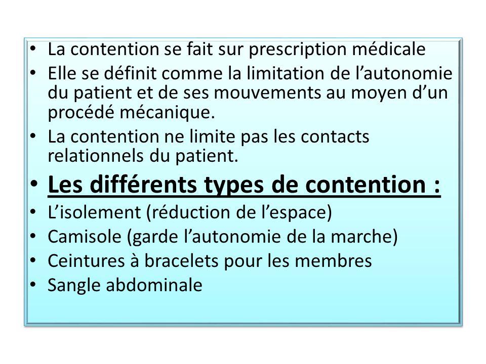 Les différents types de contention :