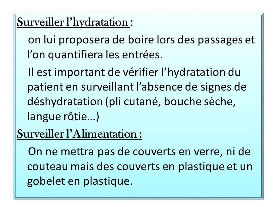 Surveiller l'hydratation : on lui proposera de boire lors des passages et l'on quantifiera les entrées.