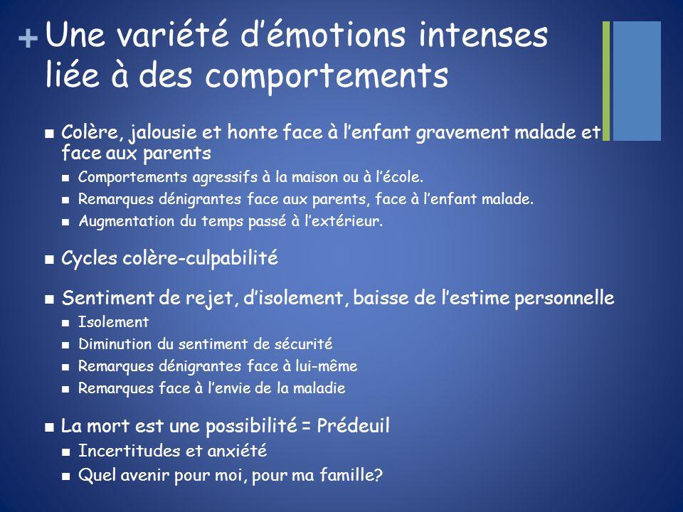 Une variété d'émotions intenses liée à des comportements