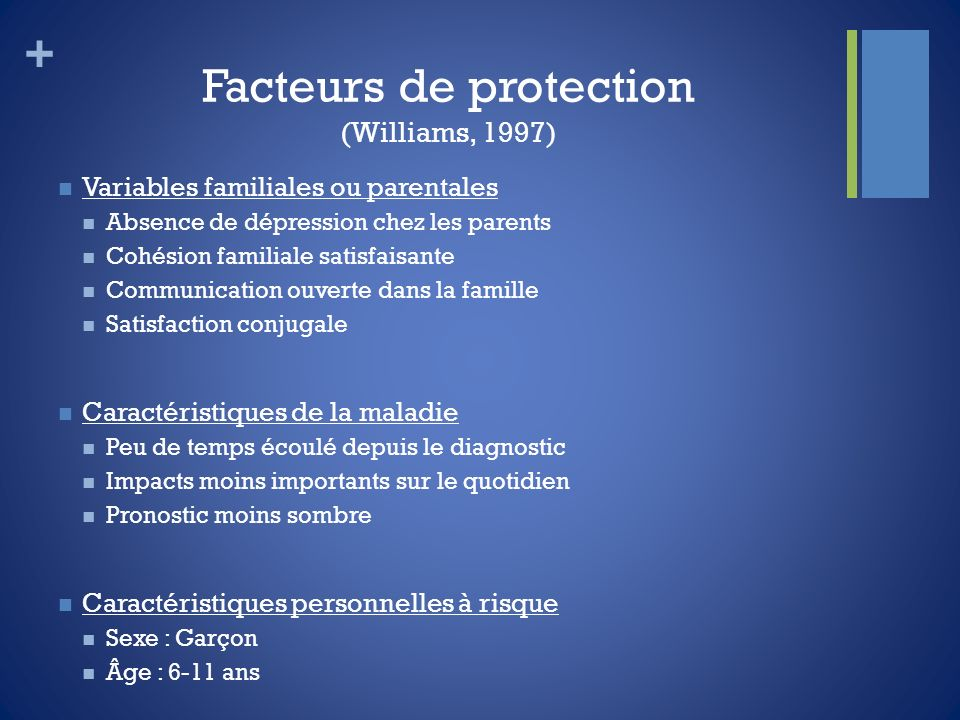 Facteurs de protection (Williams, 1997)