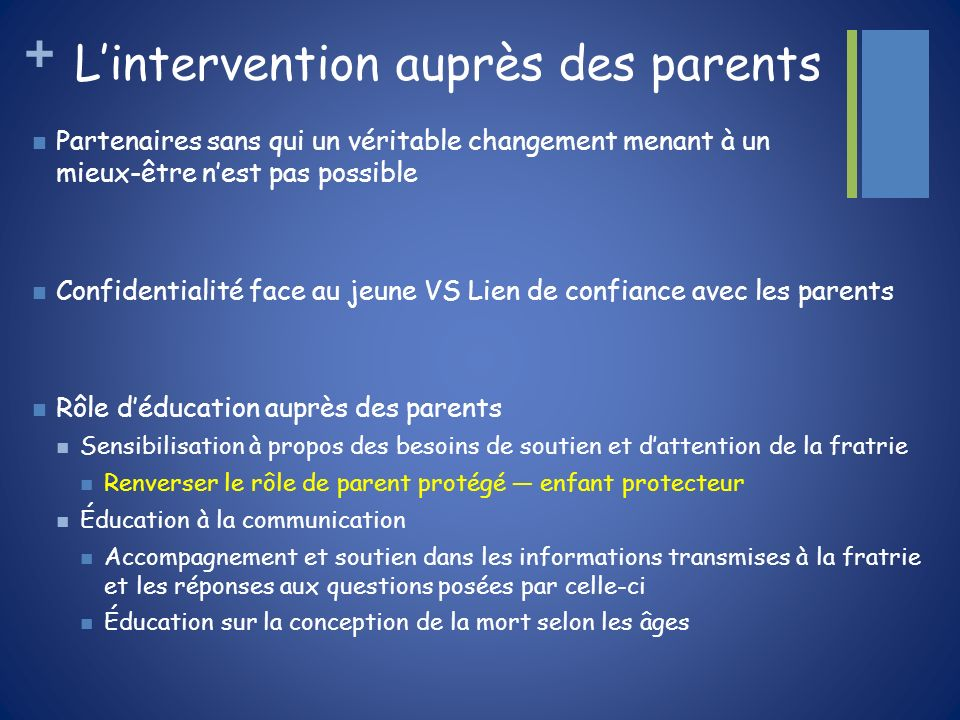 L'intervention auprès des parents