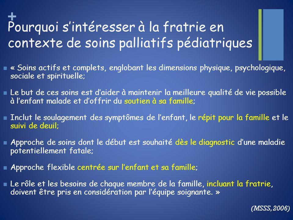 Pourquoi s'intéresser à la fratrie en contexte de soins palliatifs pédiatriques