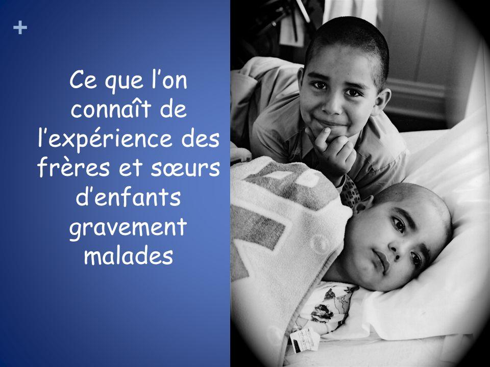 Ce que l'on connaît de l'expérience des frères et sœurs d'enfants gravement malades