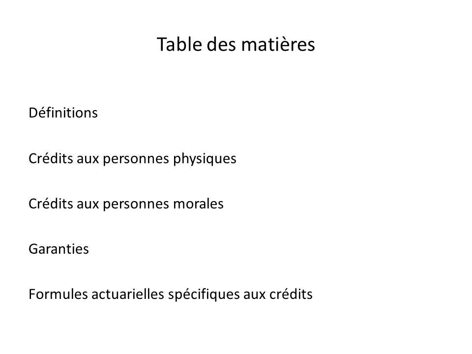 Table des matières Définitions Crédits aux personnes physiques