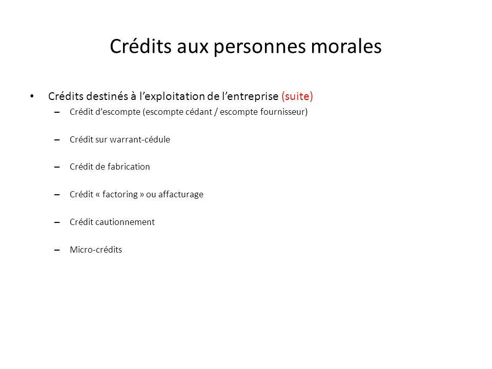 Crédits aux personnes morales
