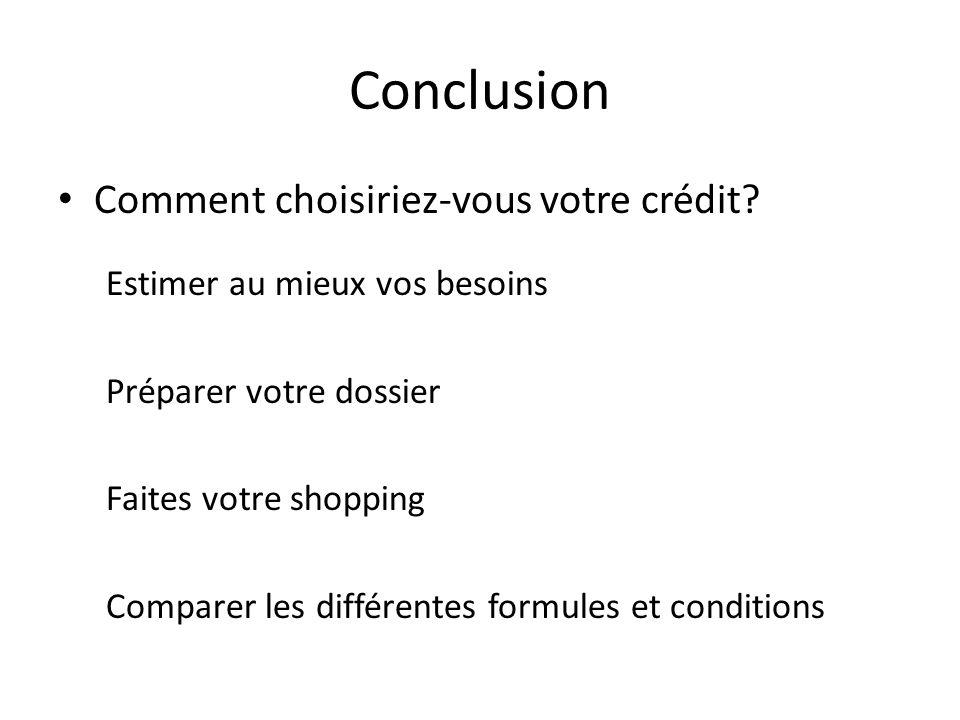Conclusion Comment choisiriez-vous votre crédit