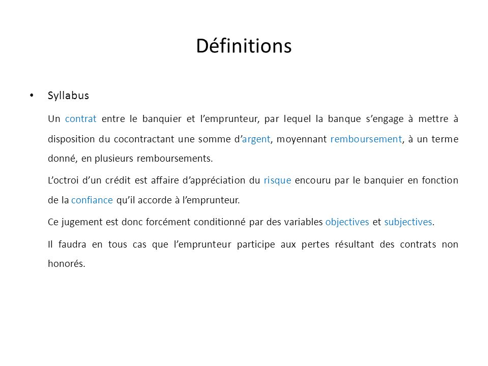 Définitions Syllabus.