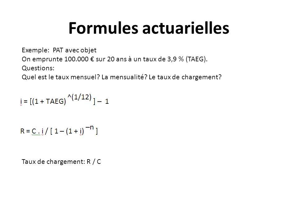 Formules actuarielles