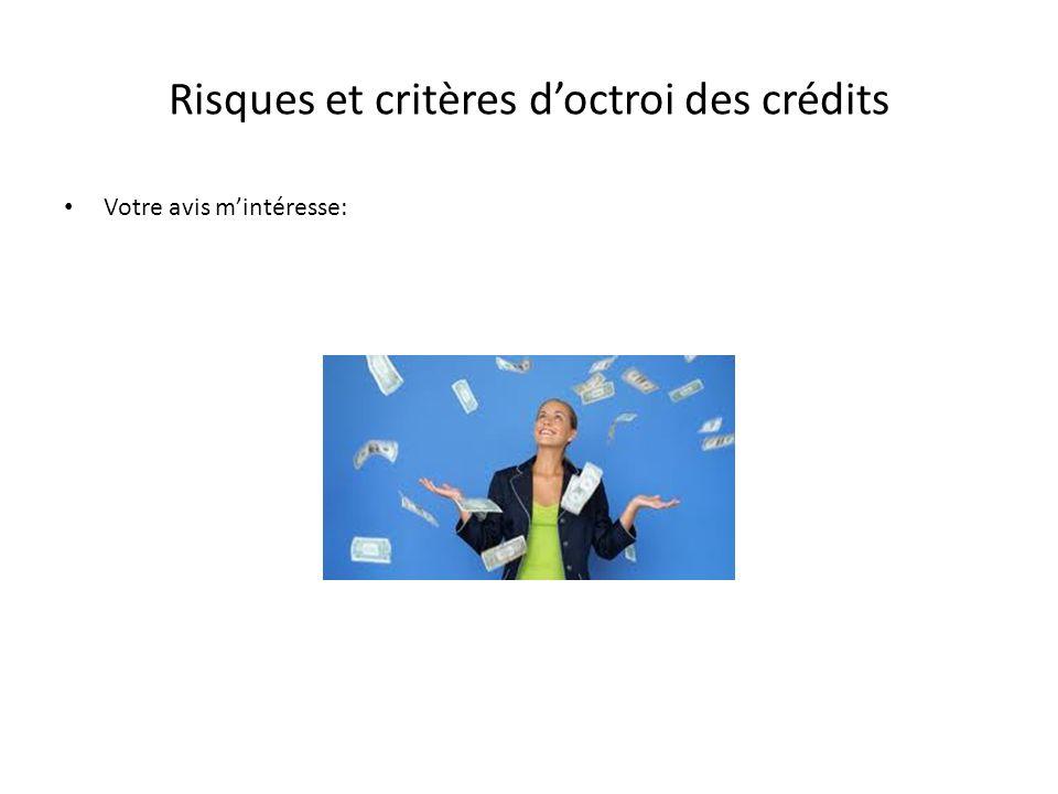 Risques et critères d'octroi des crédits